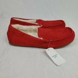 Lands End Suede Moccasin Slippers In Rich Red NWT